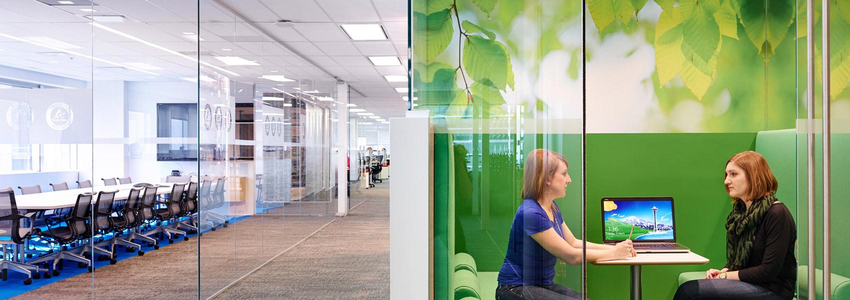 custom interior of modern glass office