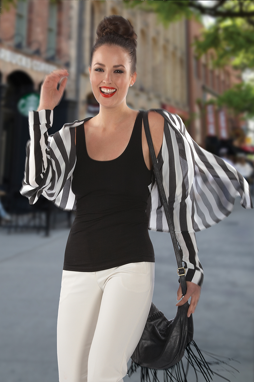 Photography - Woman Smiling in Striped Shirt On Street