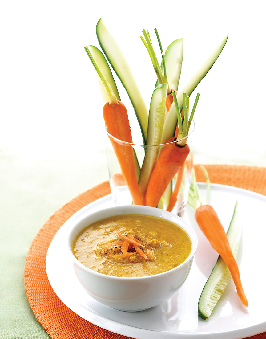 Photography - Soup with Carrots and Cucumber on Plate