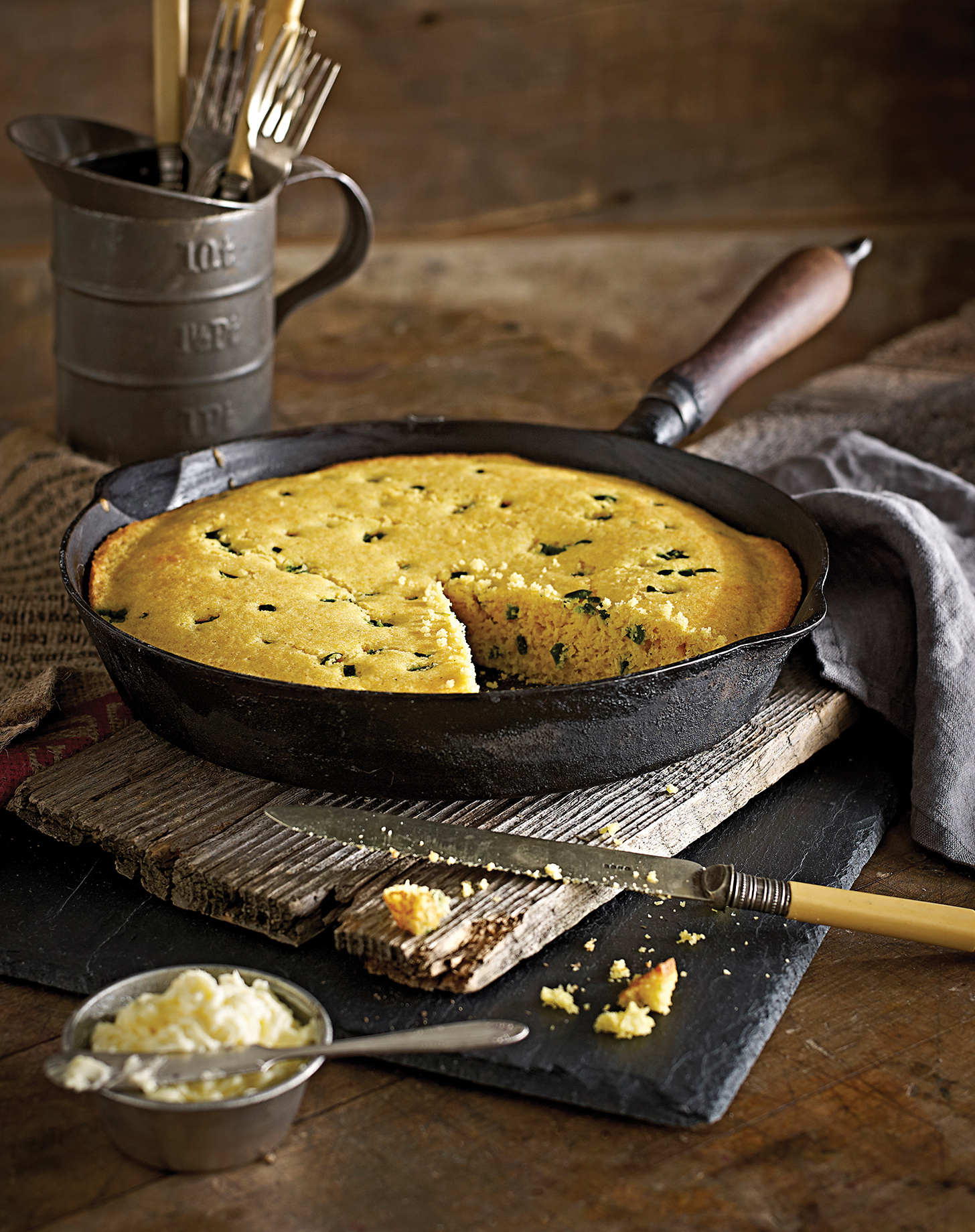 Photography - Cornbread in a Pan with Butter and Cutlery