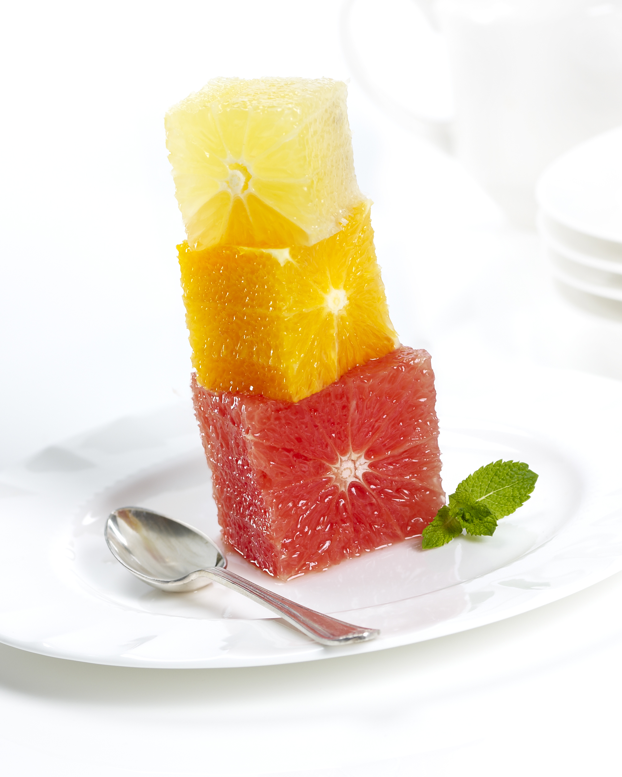 Photography - Cubed Citric Fruit on Plate