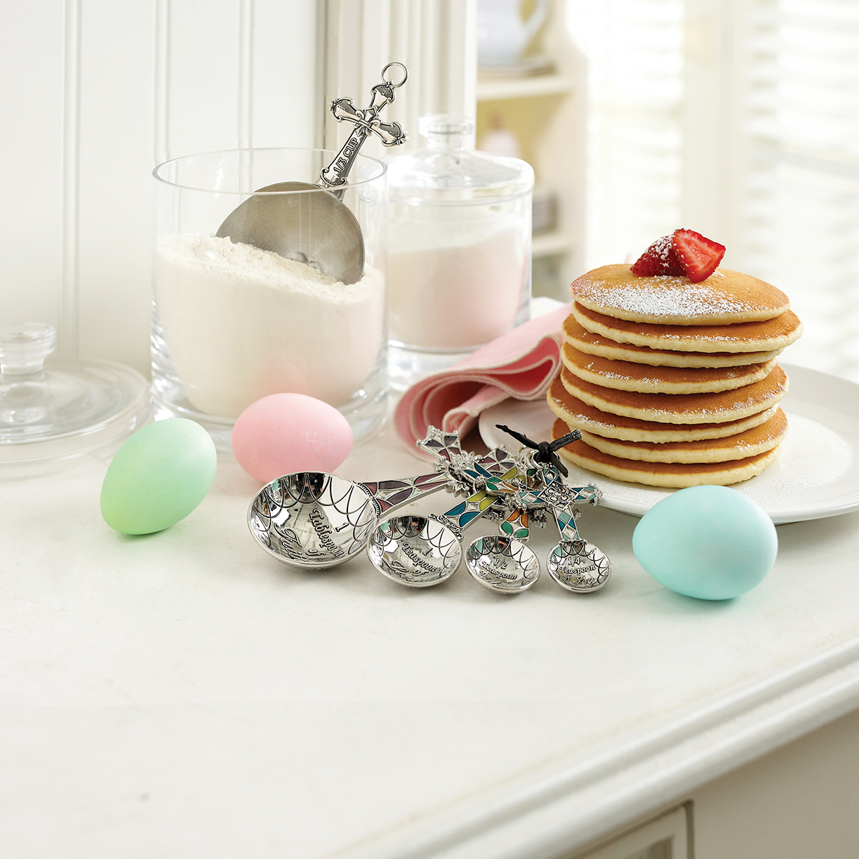 Photography - Pancakes Stacked on Plate with Easter Eggs