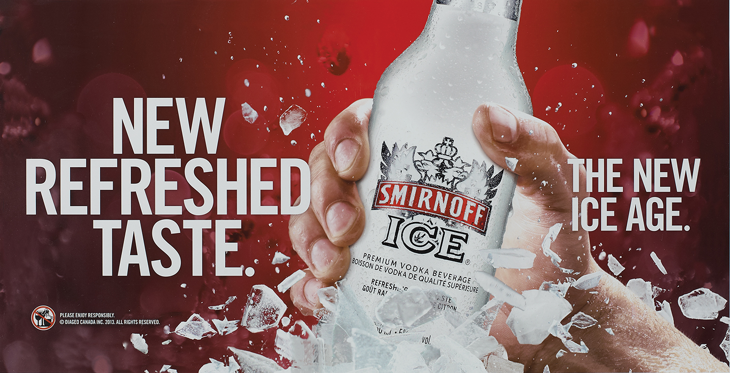 Photography Ad Smirnoff Ice Advertisement with Text New Refreshed Taste