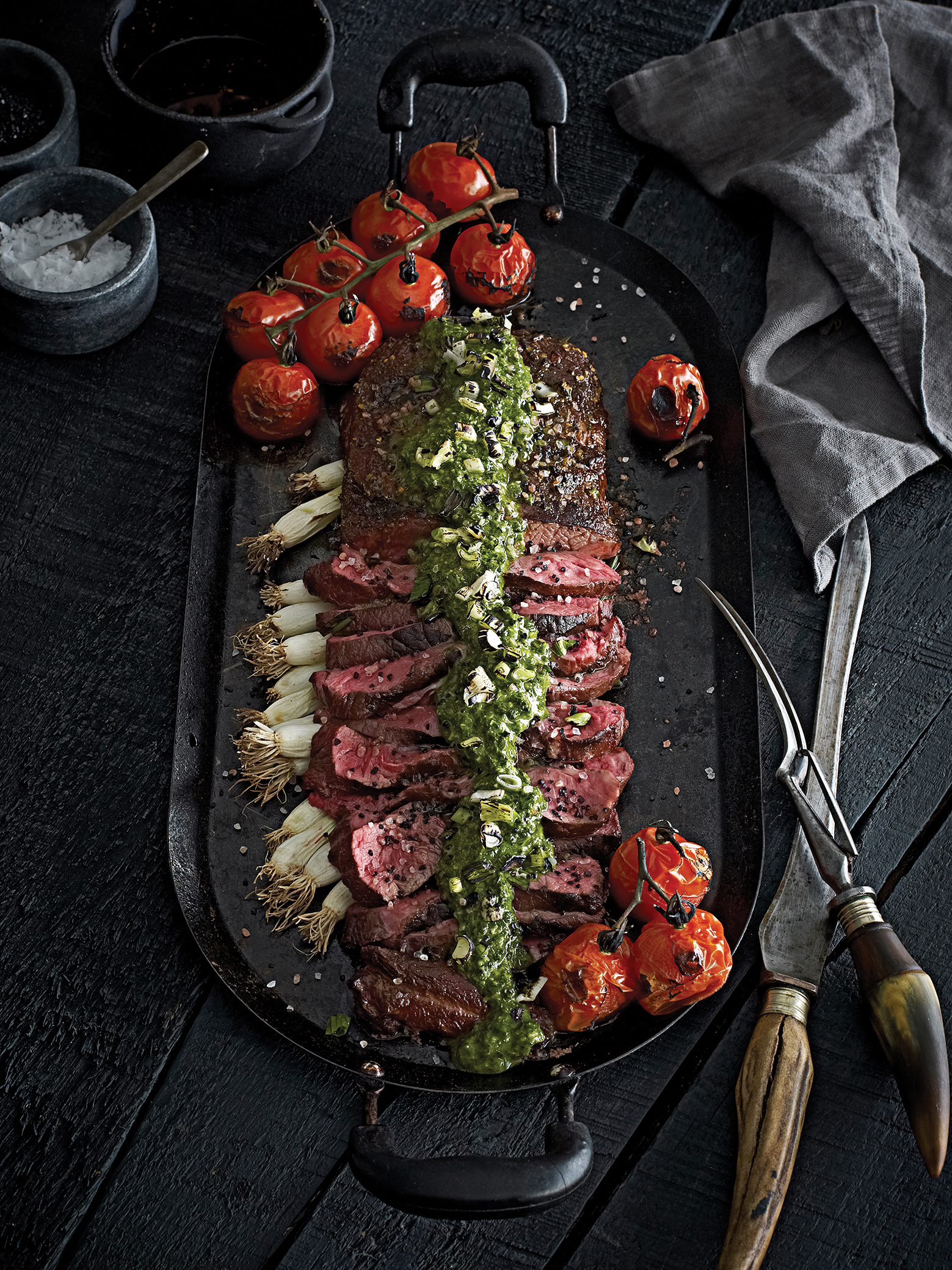 Photography Steak Chimichurri Spread