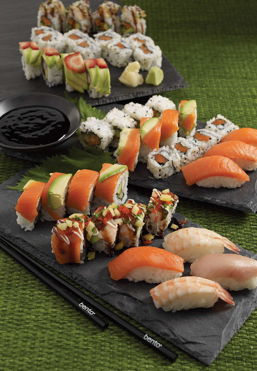 Photography - Sushi Platter on Green Table
