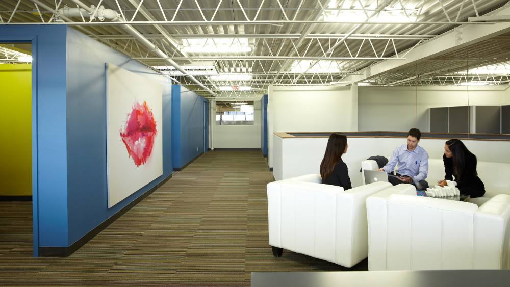 TI Group - Campus Meeting Area with Wall Artwork of Lips