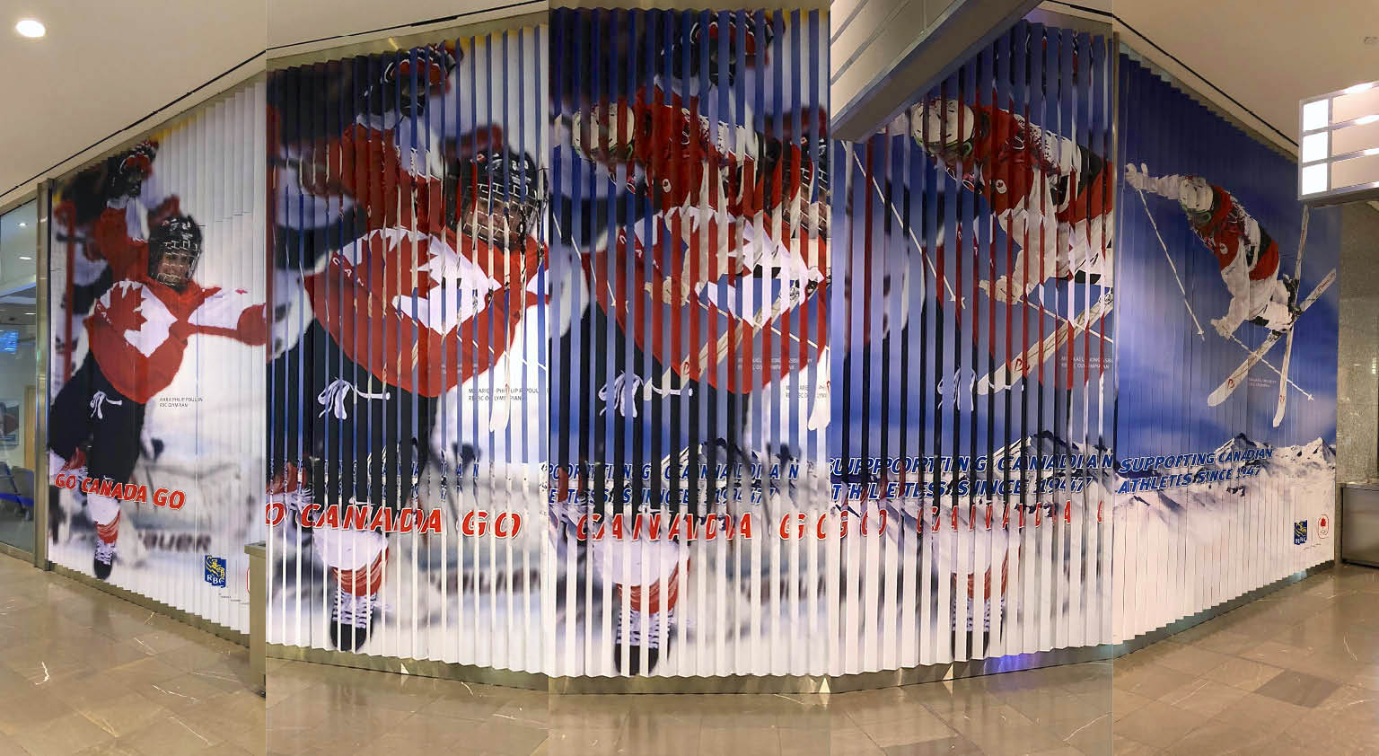 Two photos of Olympic athlete in anamorphic display.